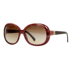 Chanel Rust Frame Sunglasses w/ CC Arm