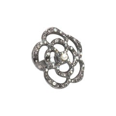 Chanel Ruthenium Tone Camellia Faux Pearl & Crystal Ring - Size 7 L/M
