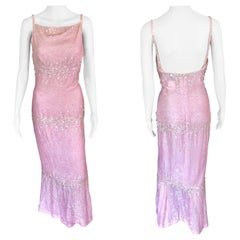 Chanel S/S 1997 Vintage Embellished Velvet Pink Dress Gown