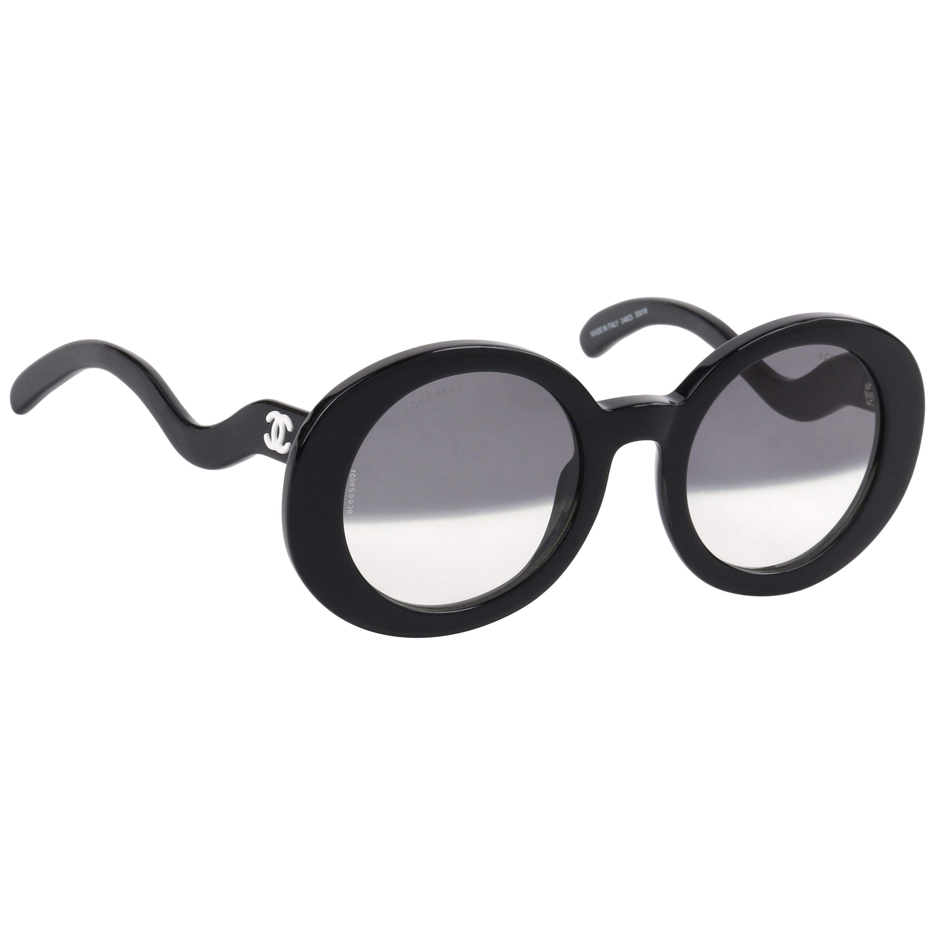 0d1658795 CHANEL S/S 2007 Black Round Half-Tint Sunglasses S5018 For Sale at 1stdibs