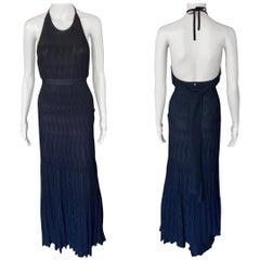 Chanel S/S 2009 Halter Knit Black Maxi Dress