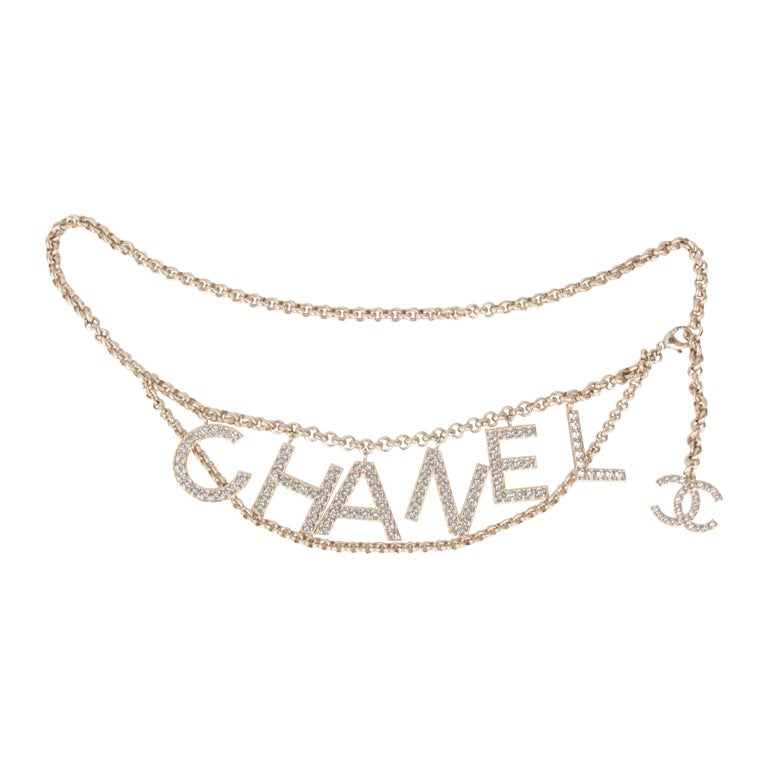 Chanel S/S 2019 Crystal Logo Gold Chain Belt For Sale