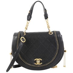 Chanel Saddle Bag Quilted Leather with Chain Detail Small