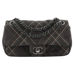 Chanel Saltire Flap Bag Stitched Suede Small
