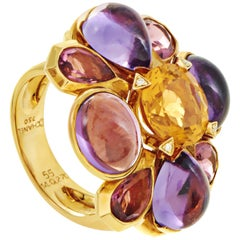 Chanel San Marco 18 Karat Gold Citrine, Tourmaline and Amethyst Cocktail Ring