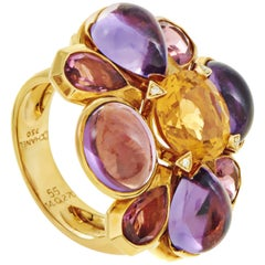 Chanel San Marco Women's 18 Karat Yellow Gold Multi-Gemstone Cocktail Ring