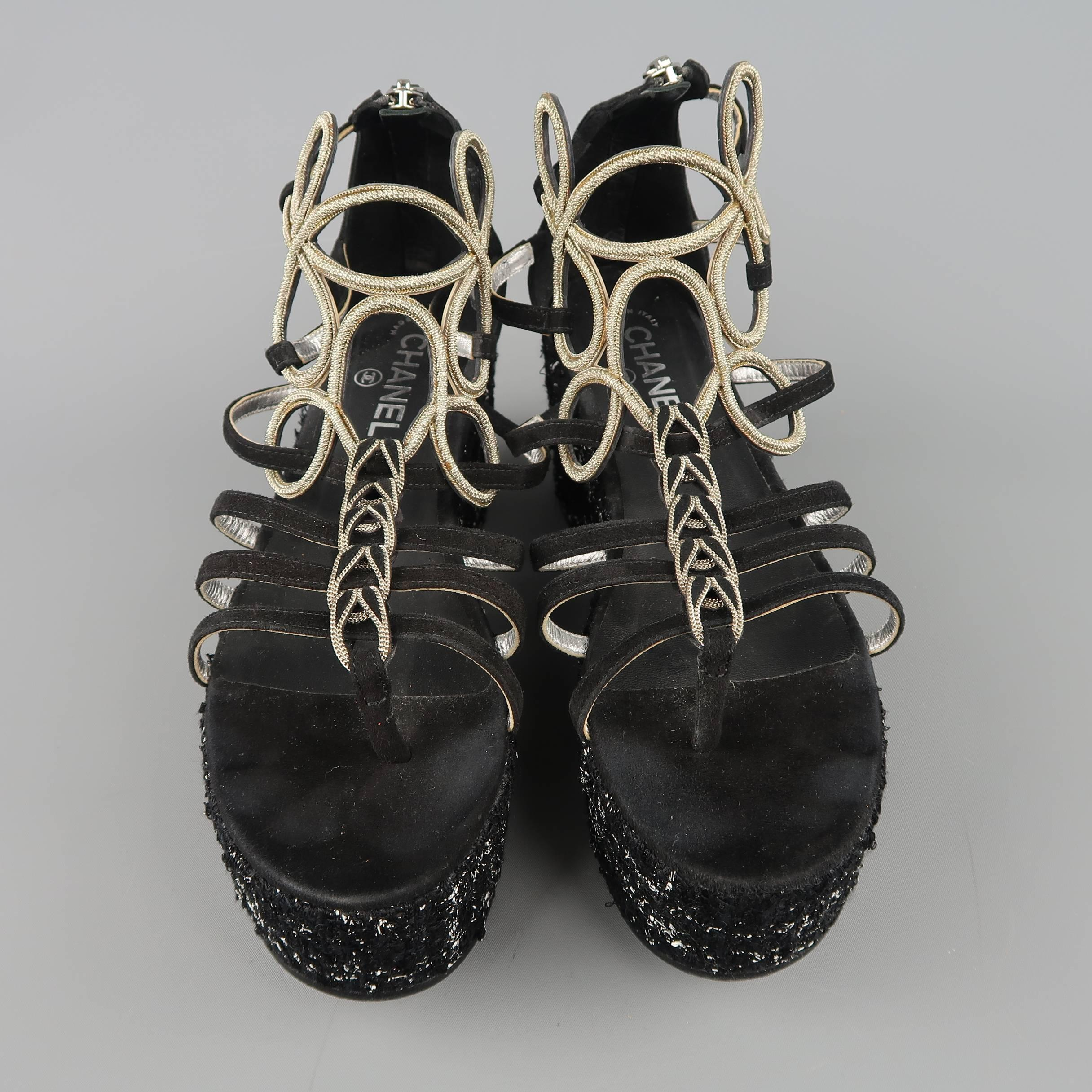 a6d66b9f83e Chanel Size 10 Black Suede and Metal Gladiator Platform Wedge Pump Sandals  at 1stdibs