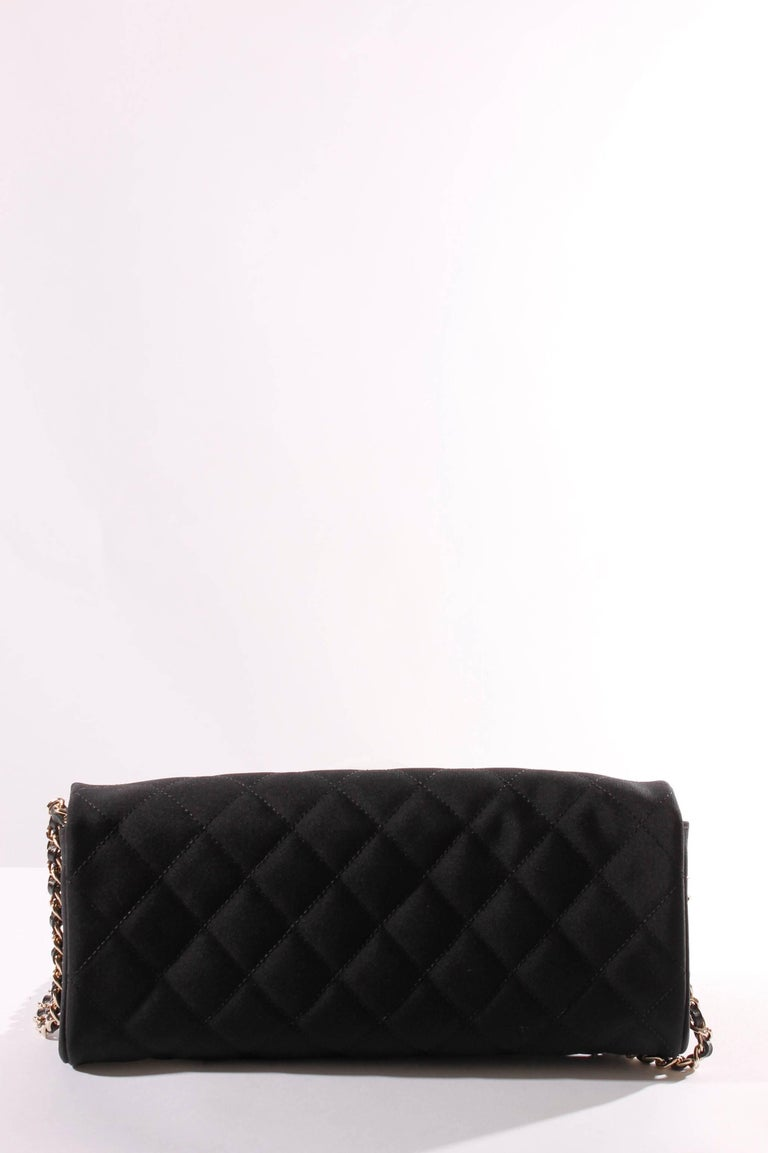 Chanel Satin Camellia Clutch Bag Black White Silver For