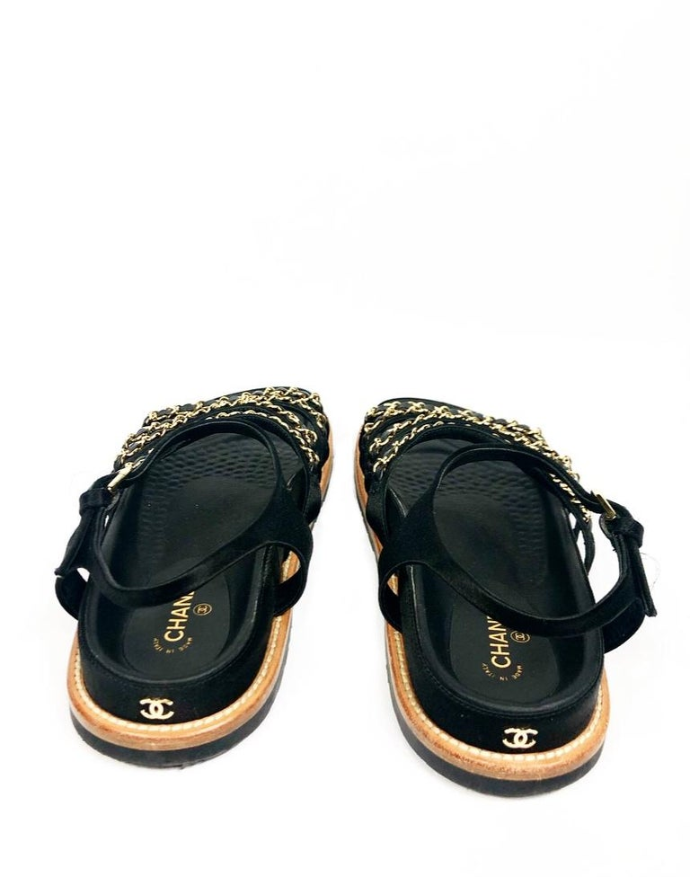 CHANEL Satin Lambskin Flat Sandals w/ 10mm Chain- Link Strap Size 38 For Sale 2