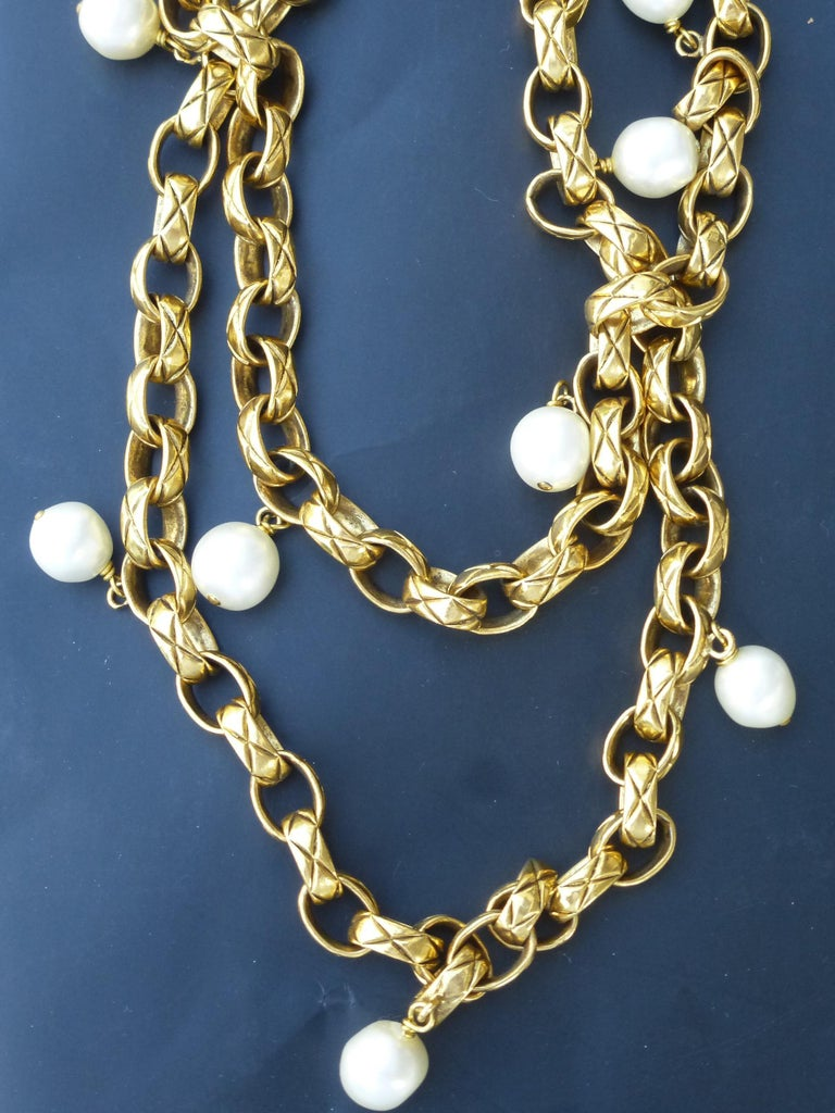 Round Cut CHANEL Sautoir made by Robert Goossens, gold plated 1985s  For Sale