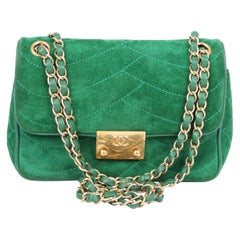 Chanel Scallop Quilted Small Pagoda Flap Bag - green suede