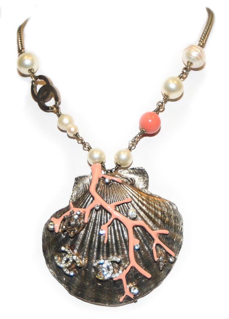 Contemporary Chanel Scallop Shell Necklace Pearls, Crystals, Coral Bead, Coral Branch For Sale