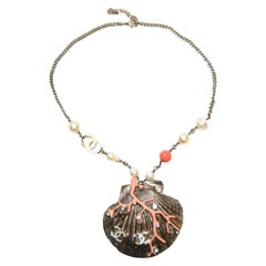 Chanel Scallop Shell Necklace Pearls, Crystals, Coral Bead, Coral Branch