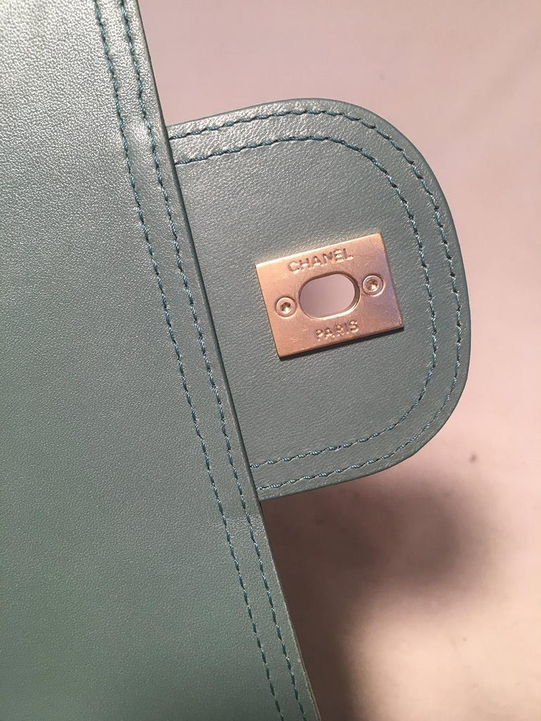 Chanel Sea Foam Green Python Snakeskin Classic Flap For Sale 7