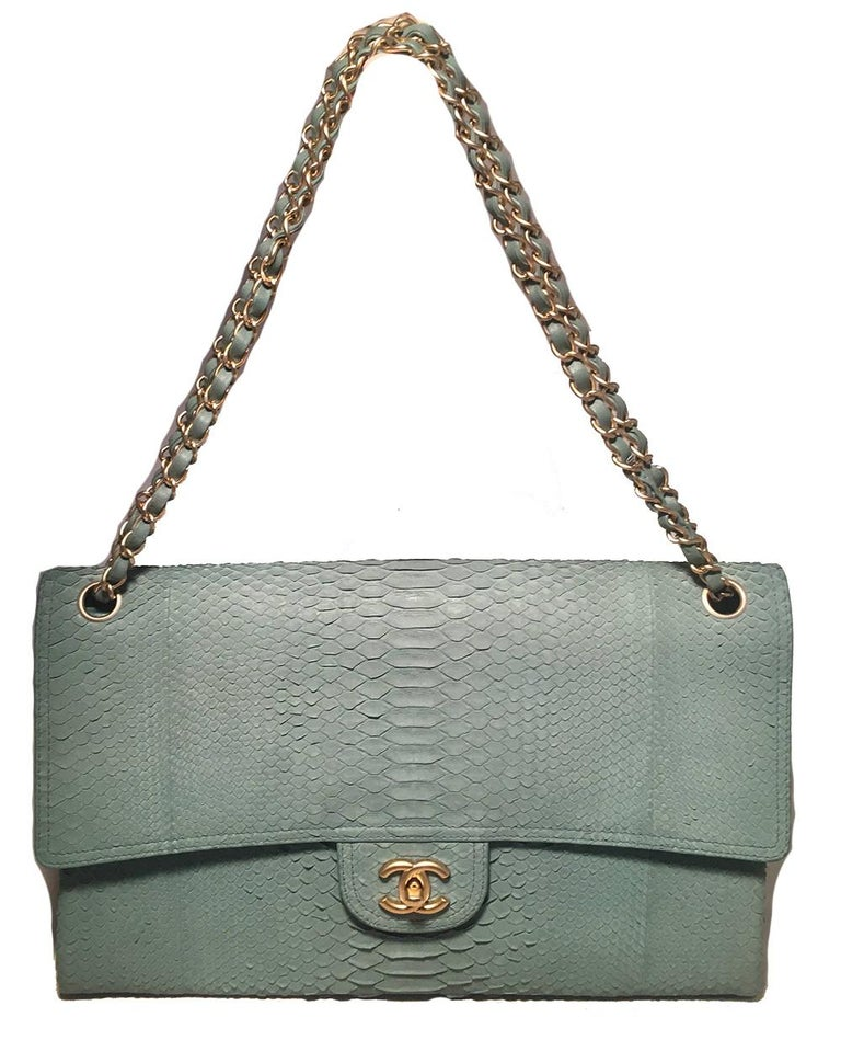 Chanel Sea Foam Green Python Snakeskin Classic Flap For Sale 8