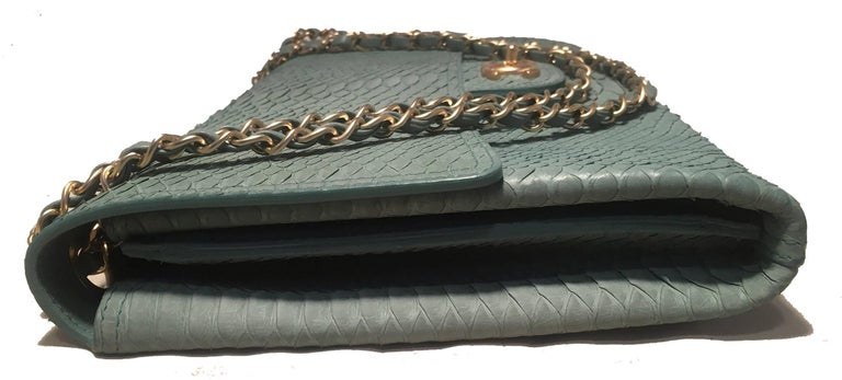 Chanel Sea Foam Green Python Snakeskin Classic Flap In Excellent Condition For Sale In Philadelphia, PA