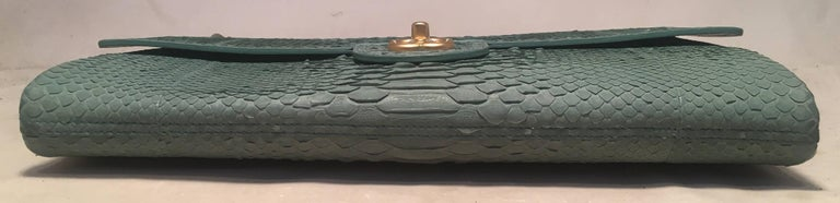 Women's Chanel Sea Foam Green Python Snakeskin Classic Flap For Sale