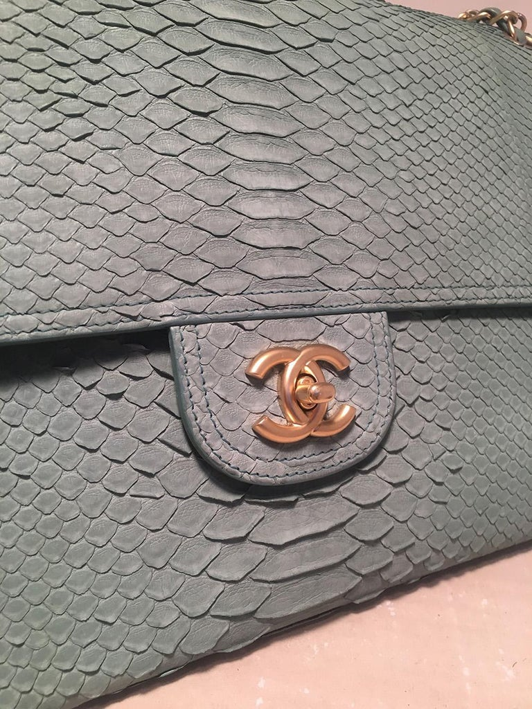 Chanel Sea Foam Green Python Snakeskin Classic Flap For Sale 1