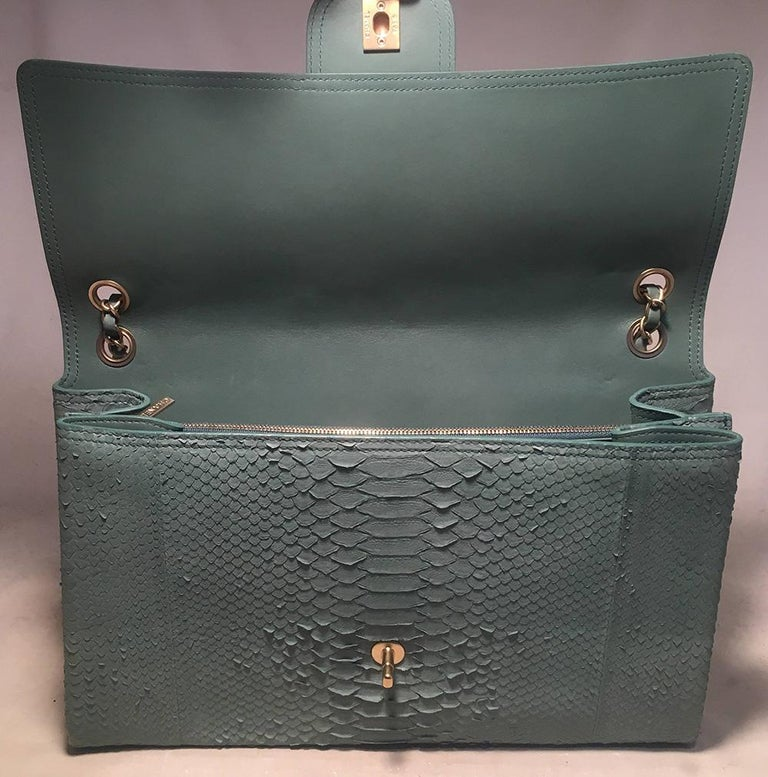 Chanel Sea Foam Green Python Snakeskin Classic Flap For Sale 2