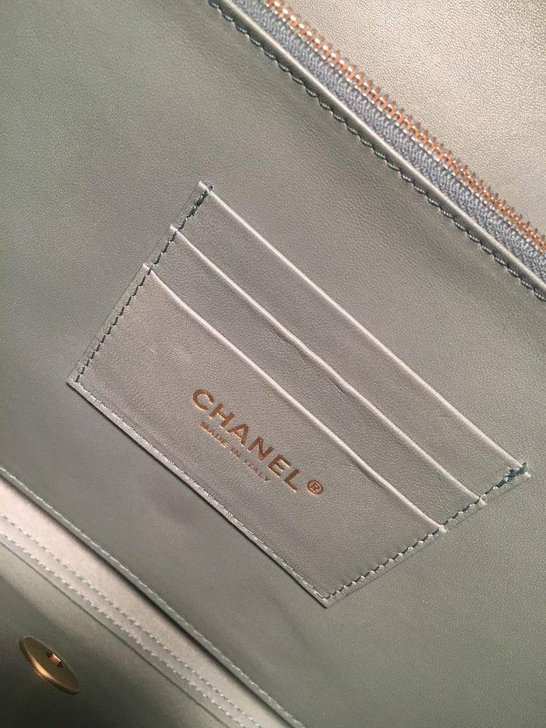 Chanel Sea Foam Green Python Snakeskin Classic Flap For Sale 4
