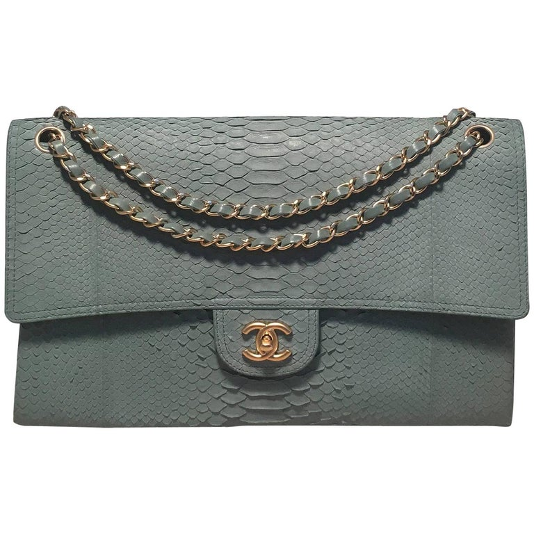 Chanel Sea Foam Green Python Snakeskin Classic Flap For Sale