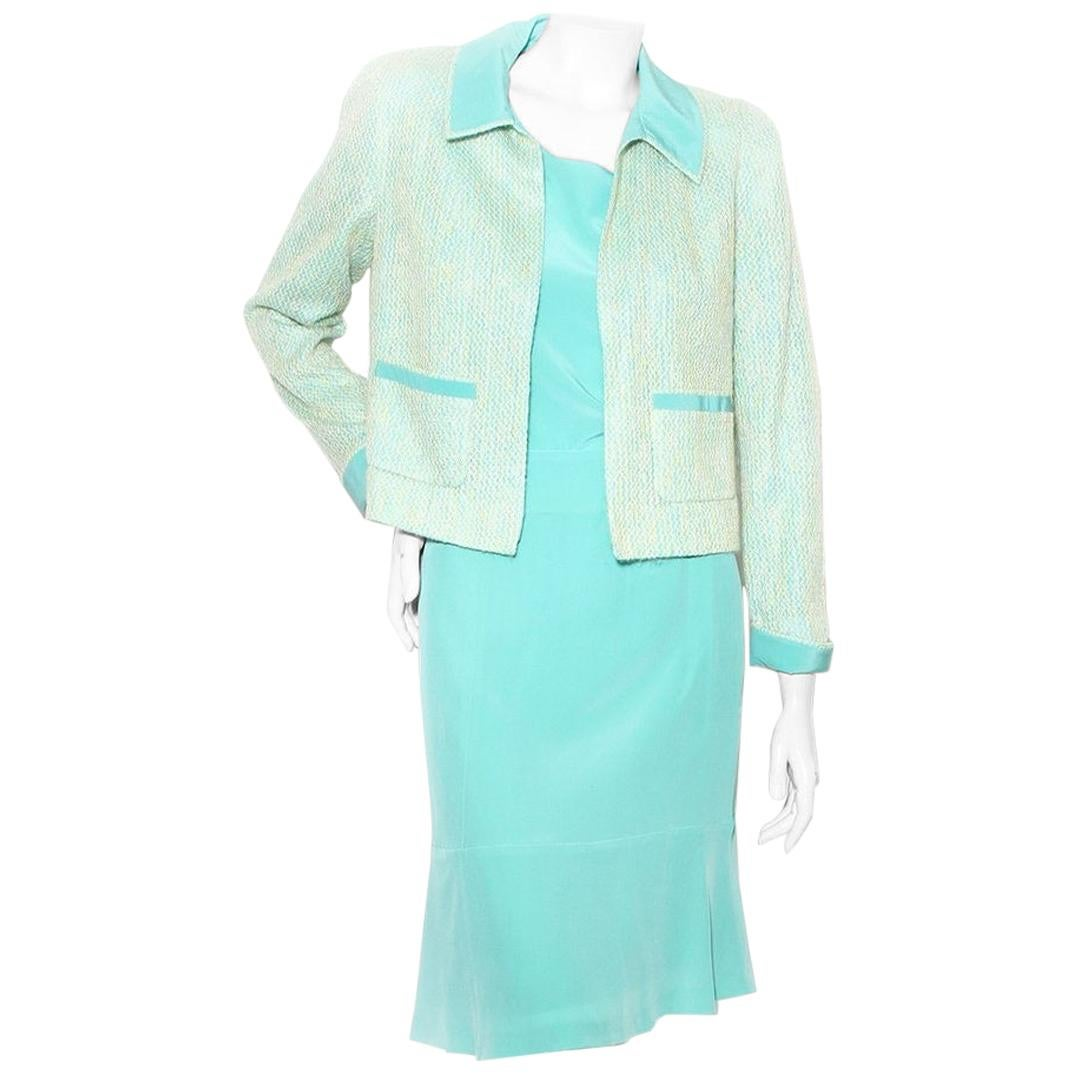 Chanel Sea-foam Green Three Piece Skirt Suit S/S 2001