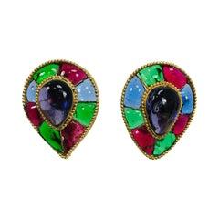 Chanel Season 26 Large Gripoix Reverse Teardrop Earrings Blue Green Red 1986
