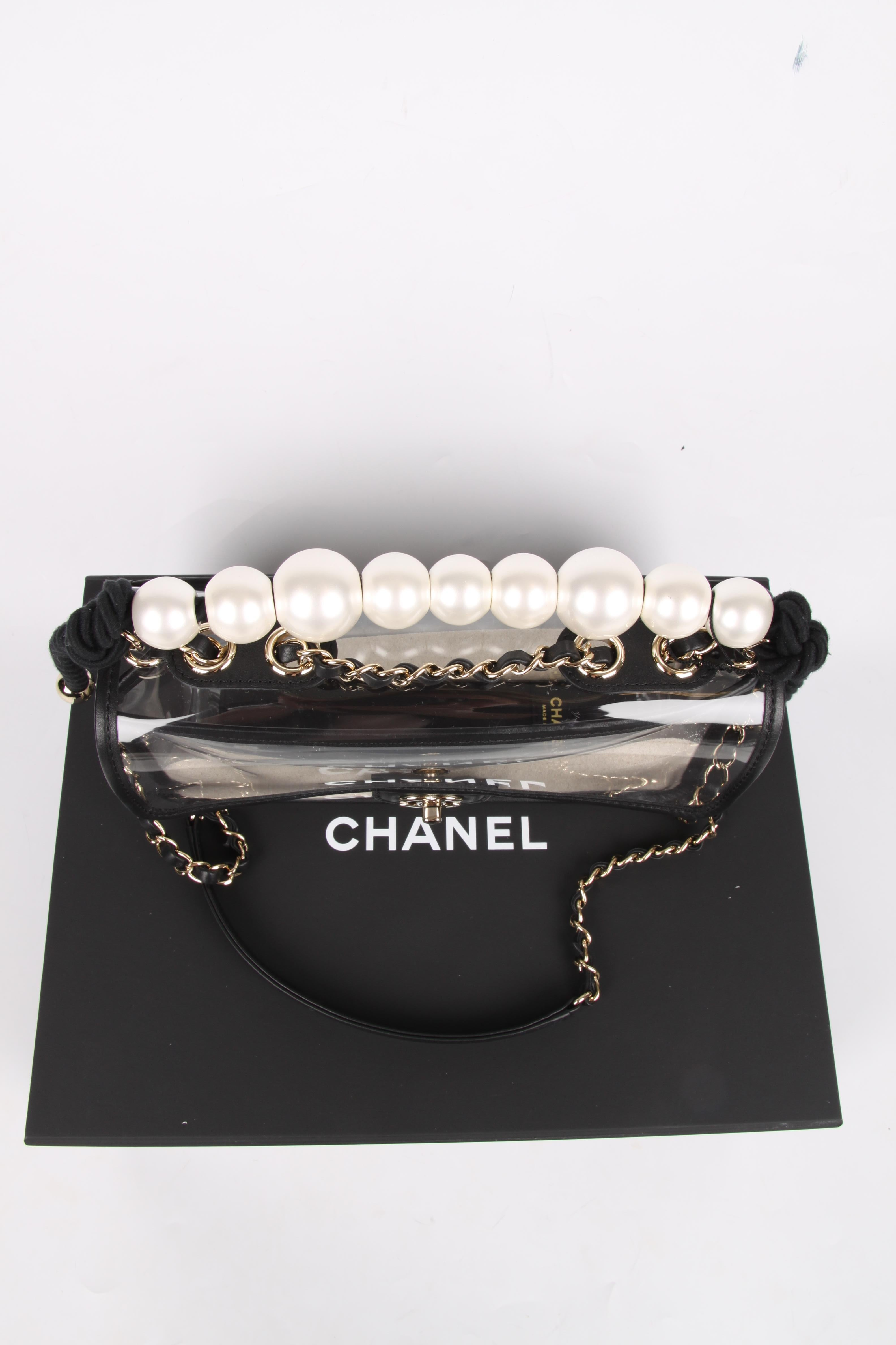 667cda569af7f8 Chanel See-Through Sand Flap Bag - black at 1stdibs