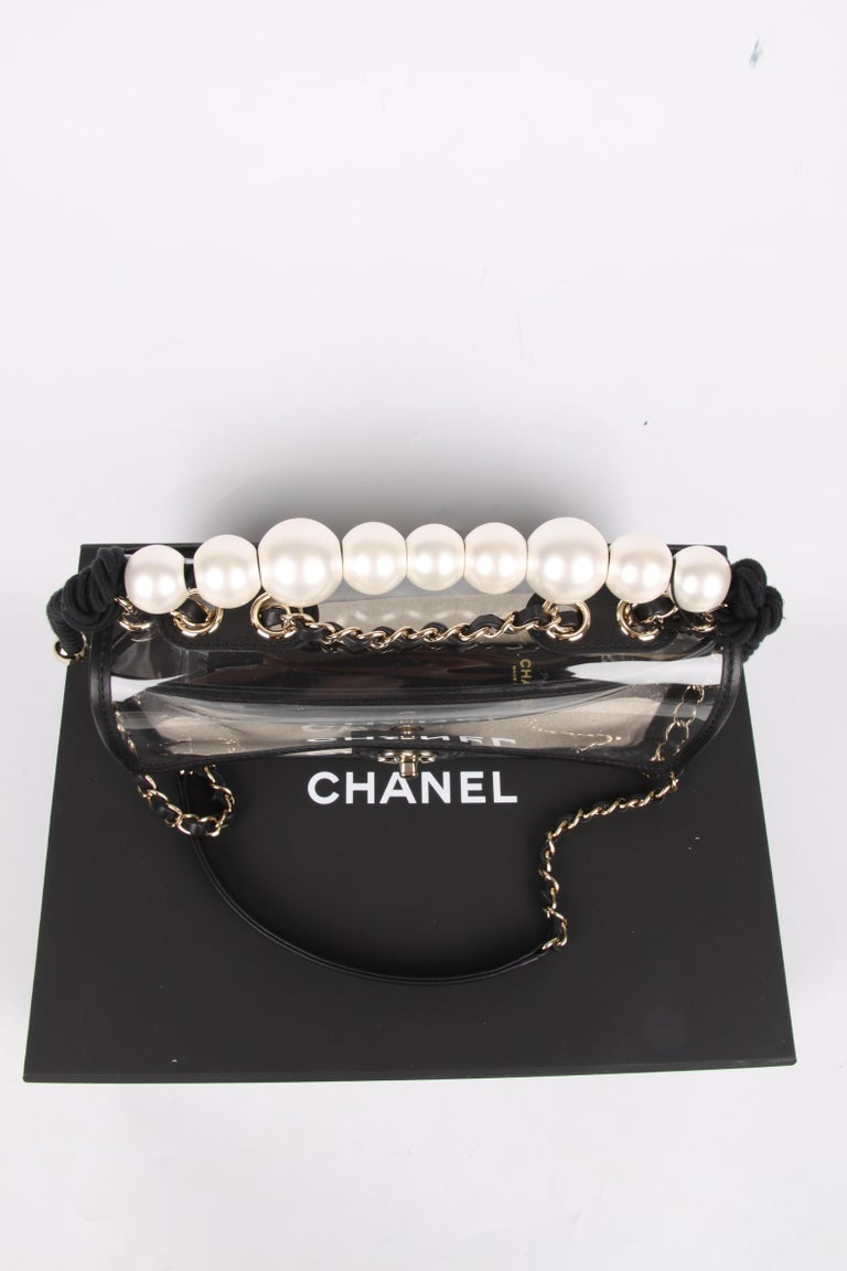 Black Chanel See-Through Sand Flap Bag - black For Sale