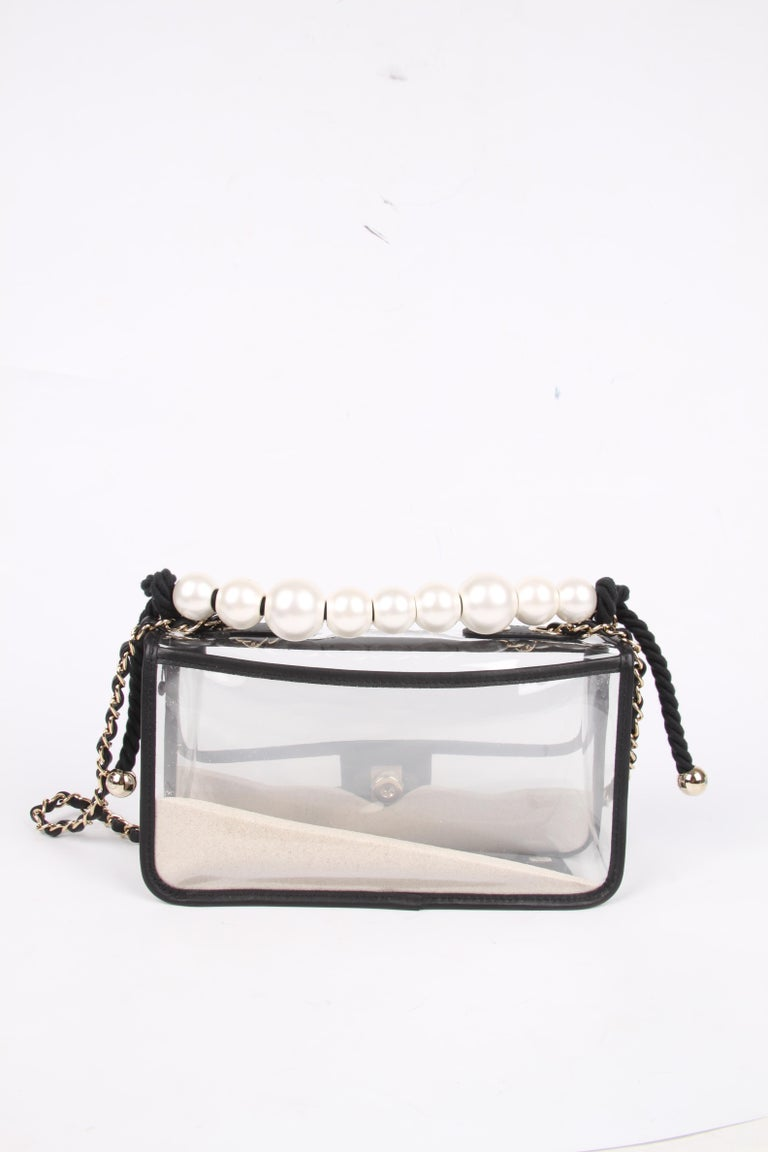 Women's Chanel See-Through Sand Flap Bag - black For Sale