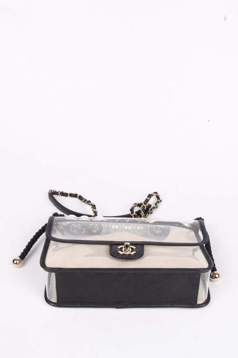 Chanel See-Through Sand Flap Bag - black 2