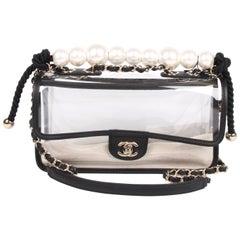 Chanel See-Through Sand Flap Bag - black