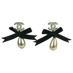 Chanel Seed Pearl and Bow Earrings