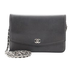 Chanel Sevruga Wallet on Chain Caviar
