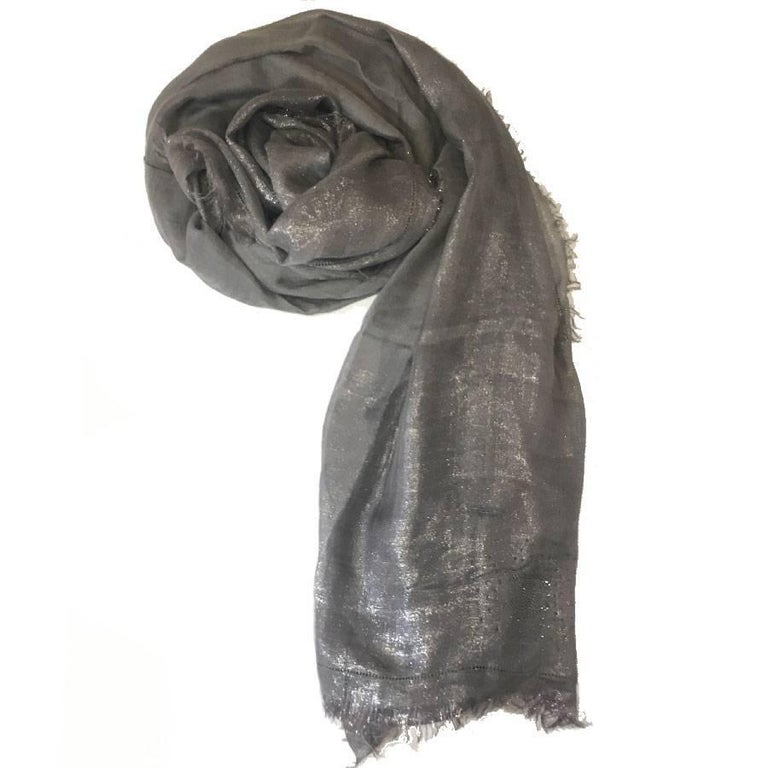 Chanel Shawl with Small Grey Modal / Silk / Cupro Fringe with Silver Threads