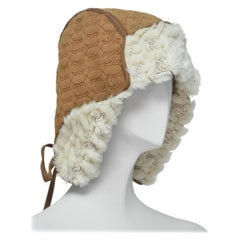 CHANEL Shearling Hat With CC Print    NEW