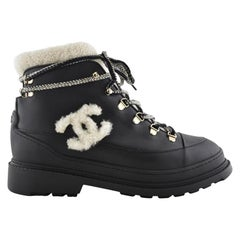 Chanel Shearling-Line Lace-Up Ankle Boots