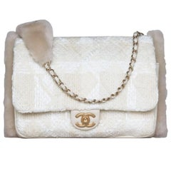 Chanel Shearling-Lined Tweed and Lambskin Muff Bag