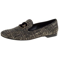 Chanel Shimmery Black Fabric CC Smoking Slippers Size 39.5