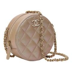 Chanel shine champagne round circular shoulder bag