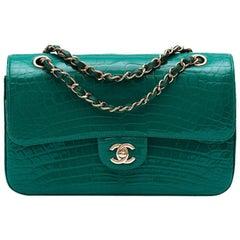 Chanel Shiny Emerald Green Alligator Medium Double Flap Bag