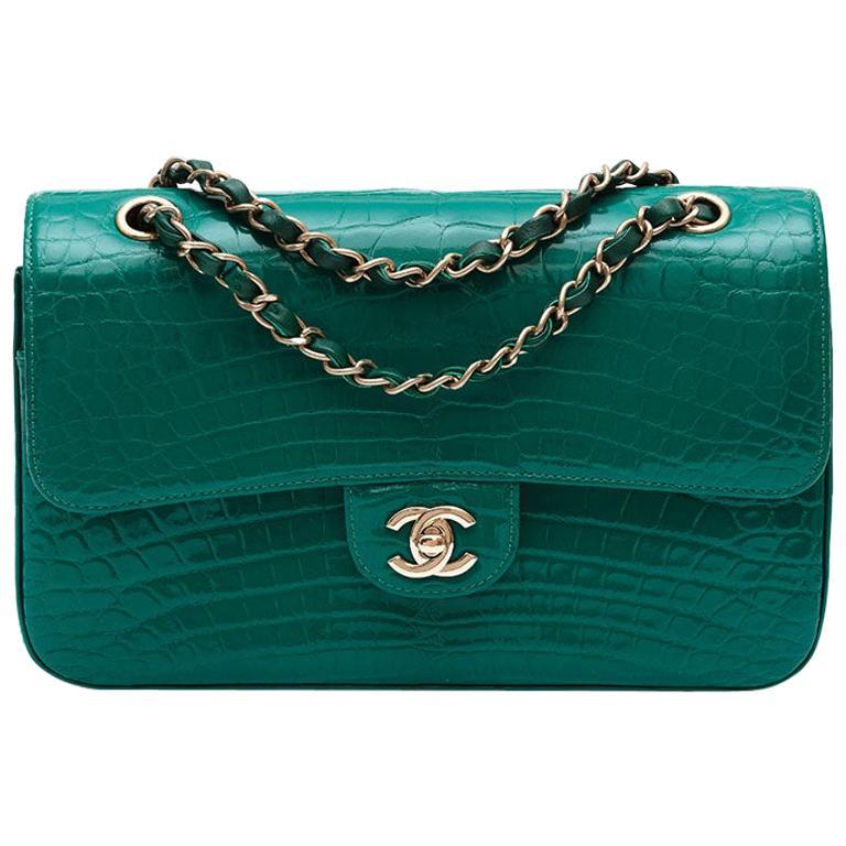 Chanel Shiny Emerald Green Alligator Medium Double Flap Bag For Sale