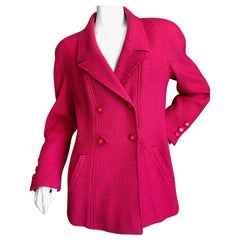 Chanel Shocking Pink Boucle Double Breasted Vintage Jacket