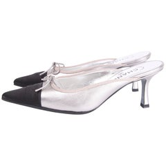 Chanel Shoes - silver leather/black satin