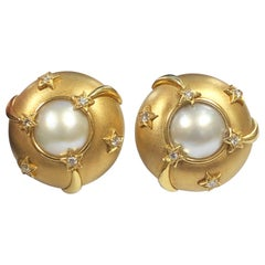 Chanel Shooting Star Collection Gold Diamond Pearl Large Earrings