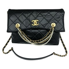 Chanel Shopping Bag - Black Leather and Pearls