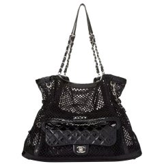 Chanel Shopping Classic Flap Cruise Mesh Woven Crochet 2 In 1 Black Patent Bag