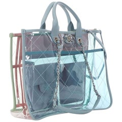 Chanel Shopping Coco Transparent Clear Quilted Lambskin Blue Pvc & Leather Tote