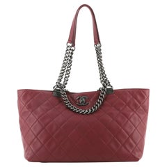 Chanel Shopping In Chains Tote Quilted Calfskin Small