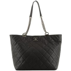Chanel  Shopping In Chains Tote Quilted Caviar Large
